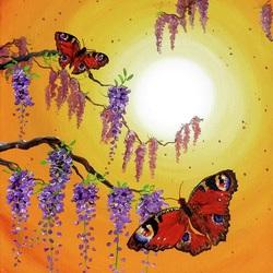 Пазл онлайн: Бабочки на закате