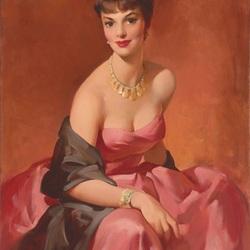 Пазл онлайн: Красавица в розовом