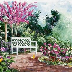 Пазл онлайн: Скамейка в саду