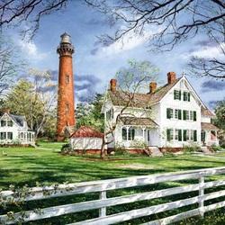 Пазл онлайн: Дом у маяка