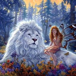 Пазл онлайн: Лев и фея-бабочек