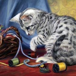 Пазл онлайн: Кошка с клубочками