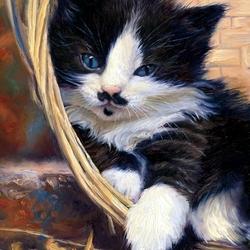 Пазл онлайн: Кошка в лукошке