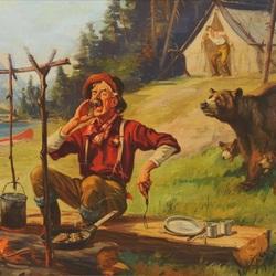 Пазл онлайн: Медведи в лагере