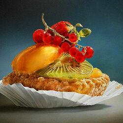 Пазл онлайн: Фруктовое пирожное