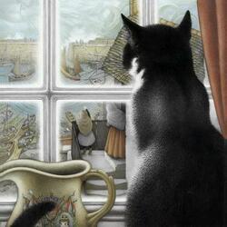 Пазл онлайн: Кот на окне