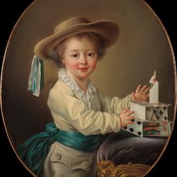 Пазл онлайн: Мальчик с карточным домиком