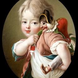 Пазл онлайн: Мальчик с игрушкой