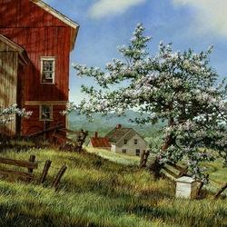 Пазл онлайн: Яблоня цветет