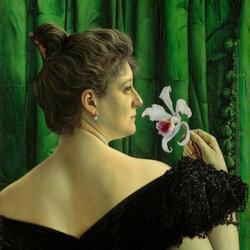 Пазл онлайн: Дама с орхидеей