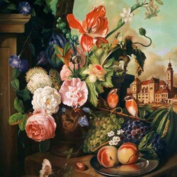 Пазл онлайн: Натюрморт с тюльпаном