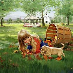 Пазл онлайн: Девочка и щенок