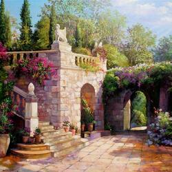 Пазл онлайн: Лестница в саду