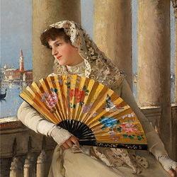 Пазл онлайн: Венецианка с веером