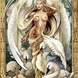 Пазл онлайн: Королева лебедей