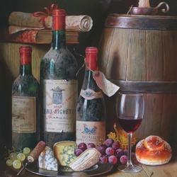 Пазл онлайн: Вино с сыром