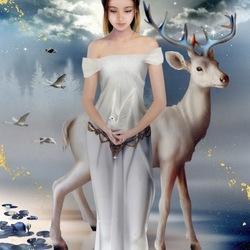 Пазл онлайн: Дева и олень