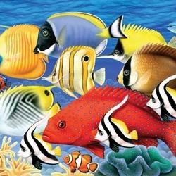 Пазл онлайн: Косяк рыб