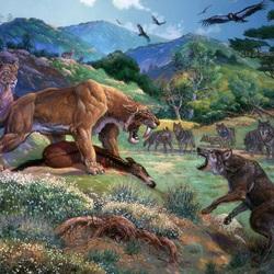 Пазл онлайн: Волки против саблезубых львов