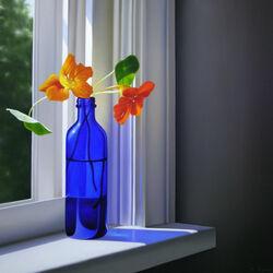Пазл онлайн: Настурция на окне