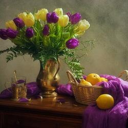 Пазл онлайн: Тюльпаны и лимоны