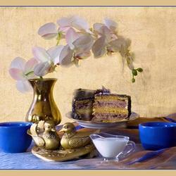 Пазл онлайн: Чай с мандаринками