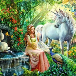 Пазл онлайн: Принцесса и единорог