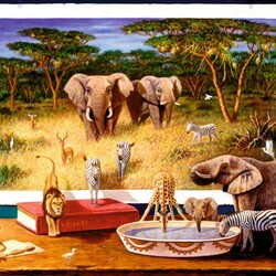 Пазл онлайн: Ночные гости Африки