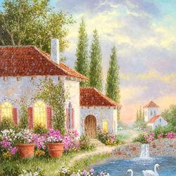 Пазл онлайн: Дом у пруда