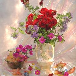 Пазл онлайн: Цветы и виноград