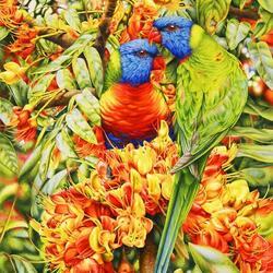 Пазл онлайн: Цветы и птицы