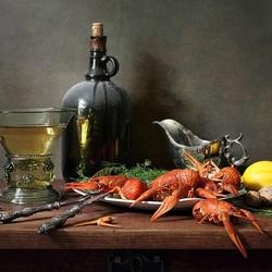 Пазл онлайн: Раки и вино