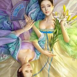 Пазл онлайн: Девушки с веером и лилиями