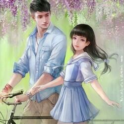 Пазл онлайн: Двое и велосипед