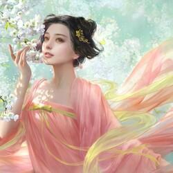 Пазл онлайн: Девушка, любующаяся цветами