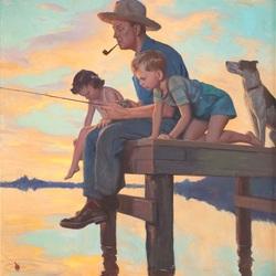 Пазл онлайн: Вечерняя рыбалка