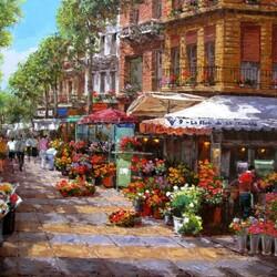 Пазл онлайн: Цветочная торговля в Барселоне