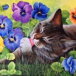 Пазл онлайн: Кошачье лето