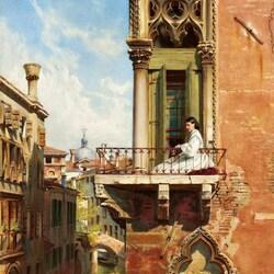 Пазл онлайн: Анна Пассини на балконе в Венеции