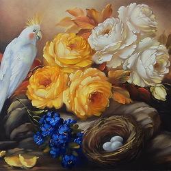 Пазл онлайн: Розы и попугай