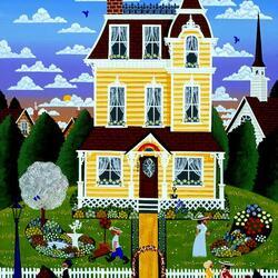 Пазл онлайн: У желтого дома