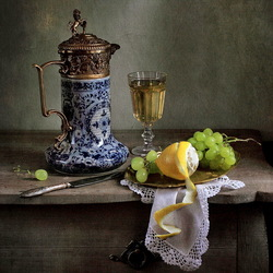 Пазл онлайн: Вино и фрукты