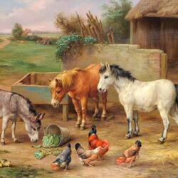 Пазл онлайн: Пони , ослики и куры