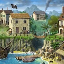 Пазл онлайн: Пиратская деревушка