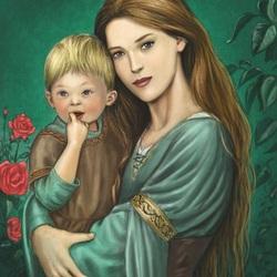 Пазл онлайн: Мама с ребенком