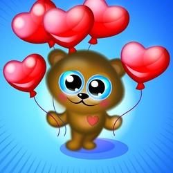 Пазл онлайн: Шарики сердечки