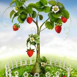 Пазл онлайн: Клубничное дерево