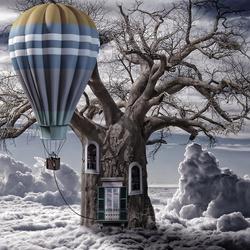 Пазл онлайн: Дерево дом
