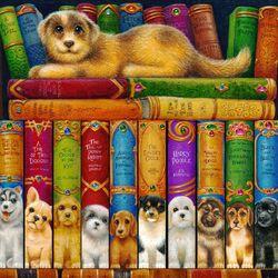 Пазл онлайн: Большая собачья библиотека