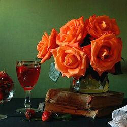 Пазл онлайн: Клубника и розы